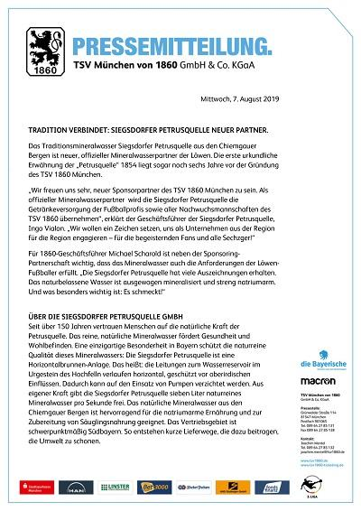 TSV 1860 Partner Siegsdorfer Petrusquelle