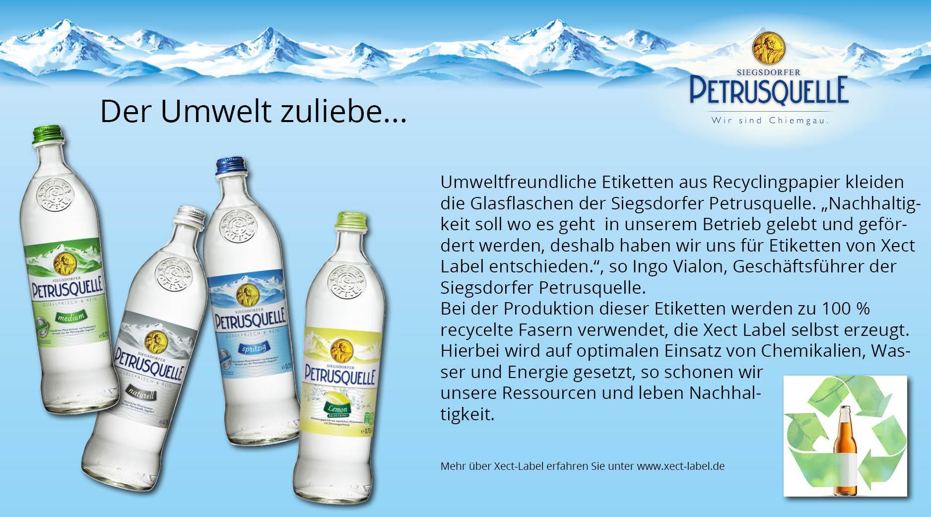 Umweltfreundliche Etiketten aus Recyclingpapier Siegsdorfer Petrusquelle